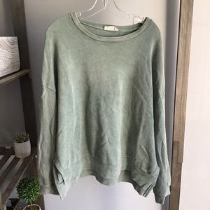 Peach Love Textured Green Crewneck Sweatshirt